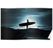 Blue Surfer Poster