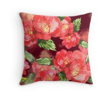 Red Roses Watercolor Throw Pillow