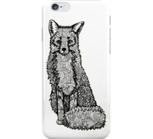 Fox-Circles, Triangles, Squares, Black and White, Pen and Ink iPhone Case/Skin