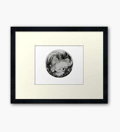 Ink Moon Cross Hatch Framed Print