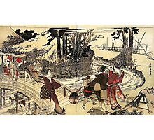 'Village Near a Bridge' by Katsushika Hokusai (Reproduction) Photographic Print