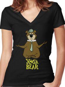 Yogi Bear Yoga Women's Fitted V-Neck T-Shirt