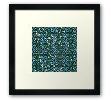 Blue Green Sparkle Swirls Framed Print