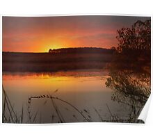 Beautiful calm sunset at the lake. Poster