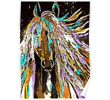 Horse Abstract Brown Blue Gold  Poster