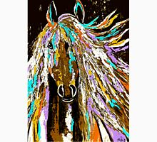 Horse Abstract Brown Blue Gold  T-Shirt