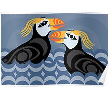 Tufted Puffins Poster