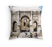 Arch of Septimius Severus, Roman Forum, Rome, Italy Throw Pillow