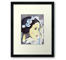 BEAUTIFUL ART NOUVEAU WOMAN WITH LILIES  Framed Print