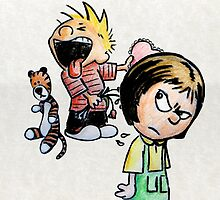 Calvin and Hobbes and Susie Fan Art by wimpy