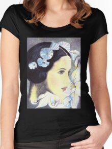 """BEAUTIFUL """"ART NOUVEAU"""" WOMAN WITH LILIES  Women's Fitted Scoop T-Shirt"""
