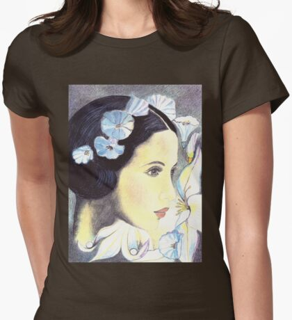 """BEAUTIFUL """"ART NOUVEAU"""" WOMAN WITH LILIES  Womens Fitted T-Shirt"""