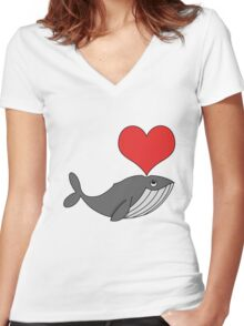 Love whales Women's Fitted V-Neck T-Shirt