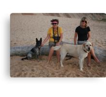 Kay & Tracey with Labrador & Cross Kelpie Blue Healer Canvas Print