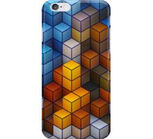 Yellow and blue geometric cubes pattern iPhone Case/Skin