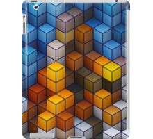 Yellow and blue geometric cubes pattern iPad Case/Skin
