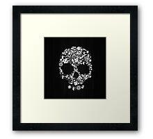Floral Skull Wood Texture Framed Print