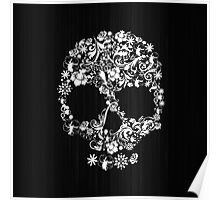 Floral Skull Wood Texture Poster