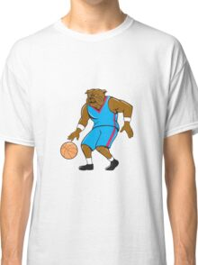 Bulldog Basketball Player Dribble Cartoon Classic T-Shirt