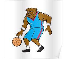Bulldog Basketball Player Dribble Cartoon Poster
