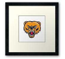 Grizzly Bear Angry Head Cartoon Framed Print