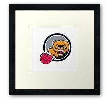 Grizzly Bear Angry Head Basketball Cartoon Framed Print