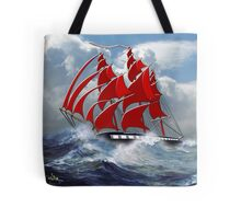 The Clipper Ship Indian Queen in Rough Seas Tote Bag