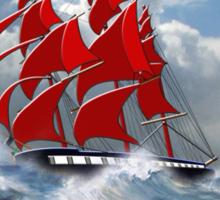 The Clipper Ship Indian Queen in Rough Seas Sticker