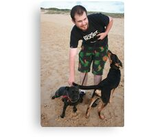 10. Chris with his English Staffy Canvas Print