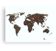 A S L ... I Love You World Map  Canvas Print