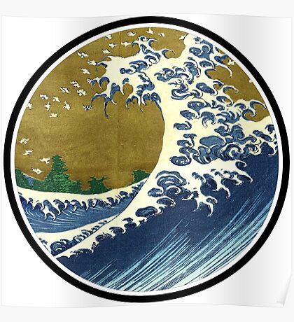 Japanese surf wave Poster