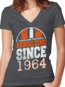 Cleveland Football Rebuilding Women's Fitted V-Neck T-Shirt
