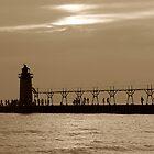 South Haven Light House at Dusk by enchantedImages