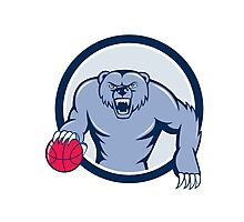 Grizzly Bear Angry Dribbling Basketball Cartoon Photographic Print