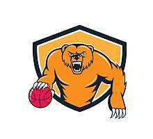 Grizzly Bear Angry Dribbling Basketball Shield Cartoon Photographic Print