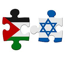 Israel and Palestine Conflict Flag Puzzle Photographic Print