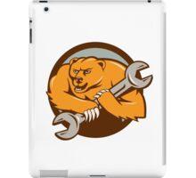 Grizzly Bear Mechanic Spanner Circle Cartoon iPad Case/Skin