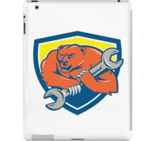 Grizzly Bear Mechanic Spanner Shield Cartoon  iPad Case/Skin