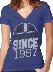 Detroit Football Rebuilding Women's Fitted V-Neck T-Shirt