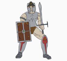 Knight Wielding Sword and Shield Cartoon by patrimonio