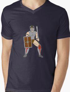 Knight Wielding Sword and Shield Cartoon T-Shirt