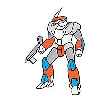 Mecha Robot Holding Ray Gun Isolated Photographic Print