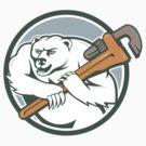 Polar Bear Plumber Monkey Wrench Circle  by patrimonio