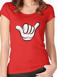 Hang loose. Surf and rock fingers Women's Fitted Scoop T-Shirt