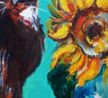 SUNFLOWERS WITH BLACK CAT IN BLUE TURQUOISE  Sticker