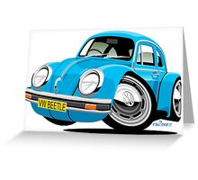 VW Beetle blue Greeting Card