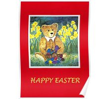 HAPPY EASTER - TEDDYBEAR WITH EGS IN BASKET-CARD - Watercolour-Design Poster