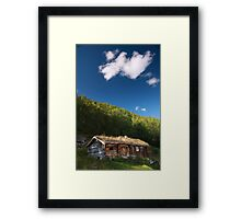 Norwegian museum with grass roof houses Framed Print