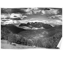 Norway landscape, black and white Poster