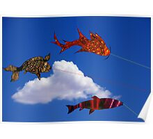 Flying fish with Single Cloud Poster